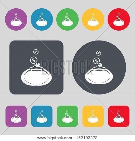 Retro Purse Icon Sign. A Set Of 12 Colored Buttons. Flat Design. Vector