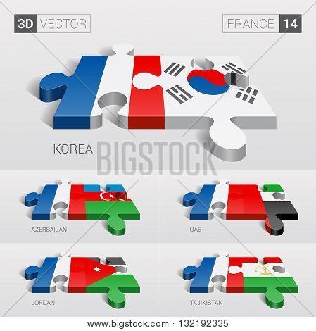 France and Korea, Azerbaijan, UAE, Jordan, Tajikistan Flag. 3d vector puzzle. Set 14.