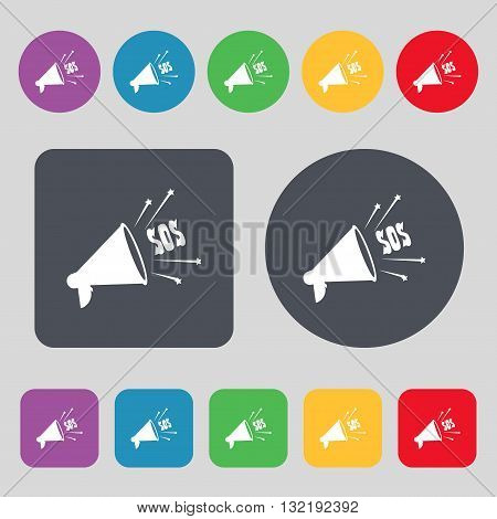 Sos Web Speaker Icon Sign. A Set Of 12 Colored Buttons. Flat Design. Vector