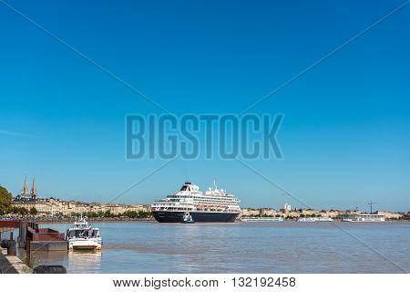 Famous Dutch Cruise Ship Prinsendam In Bordeaux, France