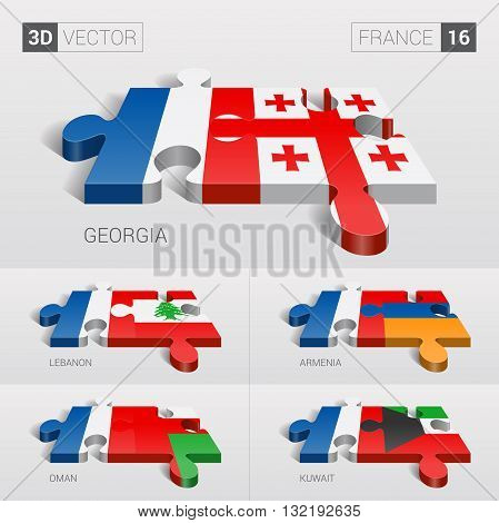 France and Georgia, Lebanon, Armenia, Oman, Kuwait Flag. 3d vector puzzle. Set 16.