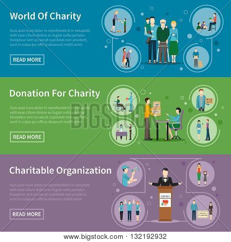 Charity donation flat banners with charitable organizations and volunteers helping needy people vector illustration