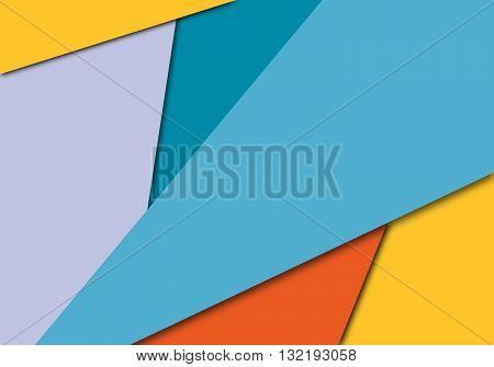 Vector Geometric Background in Trend Material Design Style. Flat Colorful Decorative Banner with Shadow in Material Style. Digital Paper Illustration.