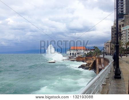 Beirut, Lebanon - January 01, 2016: Caffe on the Corniche street on coast of central Beirut, Lebanon