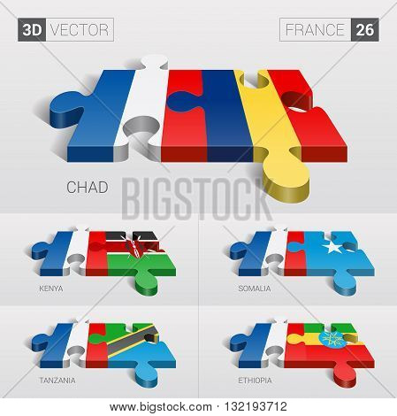 France and Chad, Kenya, Somalia, Tanzania, Ethiopia Flag. 3d vector puzzle. Set 26.