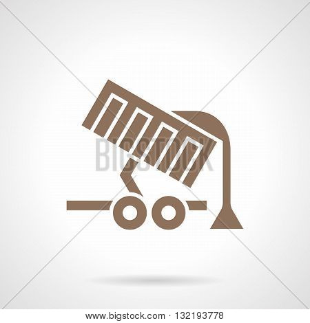 Monochrome silhouette symbol of grain unloading. Agriculture equipment and machinery. Farming lorry, transportation of bulk cargo. Symbolic brown glyph style vector icon.