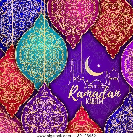 Beautiful Elegant stylized Ramadan Kareem Lanterns or Fanous Hanging. Colorful greeting card in Islamic Pattern Background for the Holy Month Occasion of fasting. Vector
