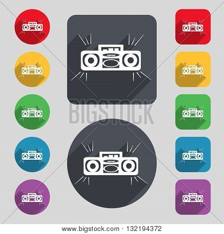 Radio Cassette Player Icon Sign. A Set Of 12 Colored Buttons And A Long Shadow. Flat Design. Vector