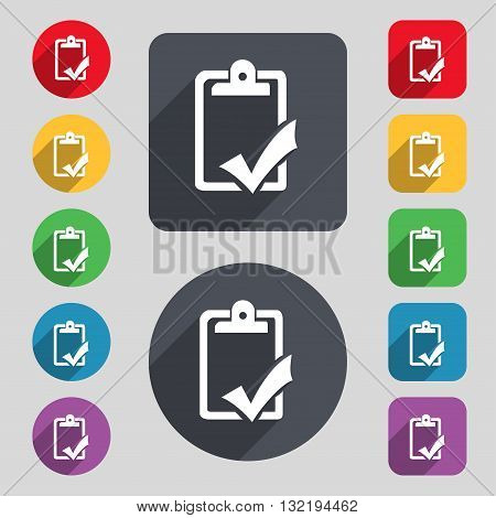 Document Grammar Control, Test, Work Complete Icon Sign. A Set Of 12 Colored Buttons And A Long Shad