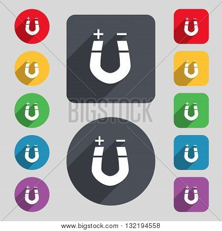 Horseshoe Magnet, Magnetism, Magnetize, Attraction Icon Sign. A Set Of 12 Colored Buttons And A Long