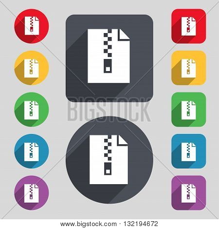 Computer Zip Folder, Archive Icon Sign. A Set Of 12 Colored Buttons And A Long Shadow. Flat Design.