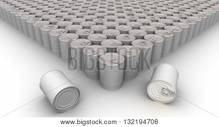 A lot of tin cans without label on a white surface. Isolated. 3D Illustration
