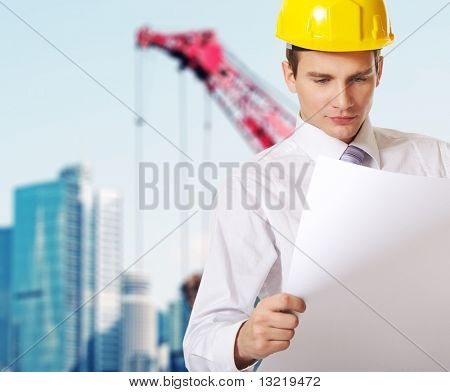 Young handsome builder