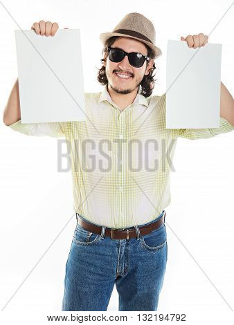 Young Man Holding Boards