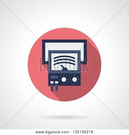 Analog voltage and current meter with a mechanical dial gauge. Measuring equipment, tools and devices. Pink round flat color design vector icon with long shadow.