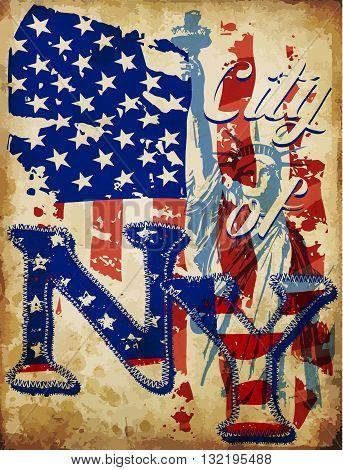 New York City Typographic Design fashion art flag