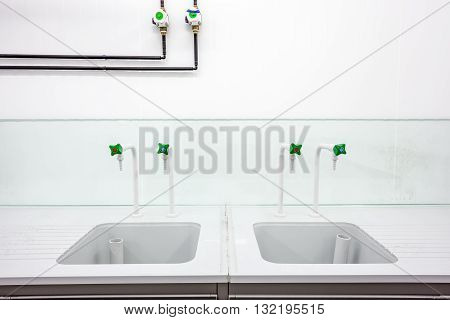 in an laboratory is an laboratory sink with faucets