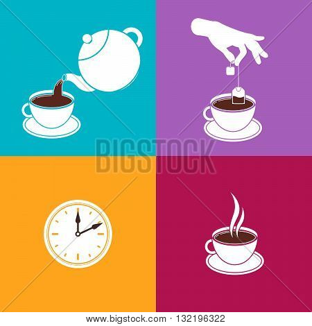Instructions of Brewing Black Tea in Tea Bags. Vector Infographic. White Easy Symbols on Colorful Backgrounds. Information for Tea Package Design. Tea Beverage Brewing Guide.