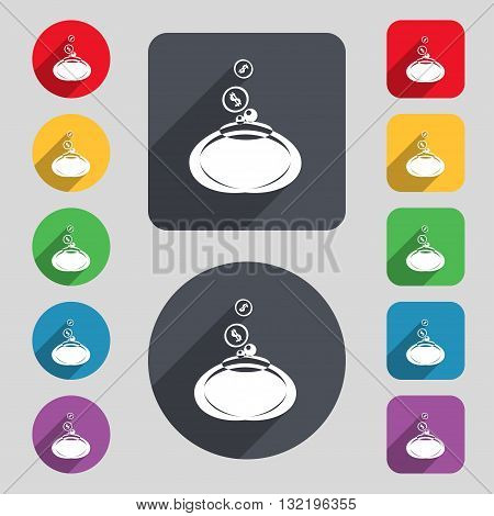 Retro Purse Icon Sign. A Set Of 12 Colored Buttons And A Long Shadow. Flat Design. Vector