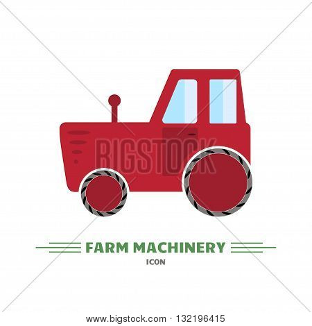 Flat red tractor on white background. Farm machinery icon. Tractor vector logo design template. Harvesting theme. Agricultural tractor transport for farm