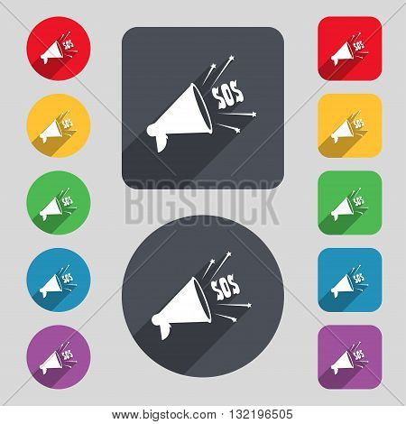 Sos Web Speaker Icon Sign. A Set Of 12 Colored Buttons And A Long Shadow. Flat Design. Vector