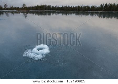 The Ice Hole on the deep Lake
