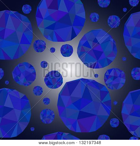 seamless pattern with blue meteors. Image of polygons