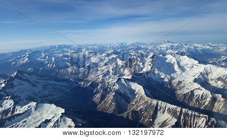 Aerial photograph of the Andes Cordillera between Mendoza and Santiago
