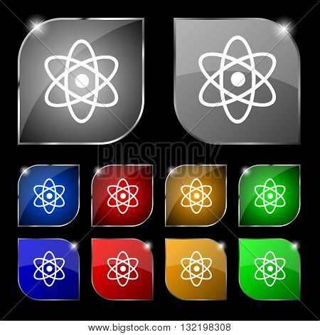 Atom, Physics Icon Sign. Set Of Ten Colorful Buttons With Glare. Vector
