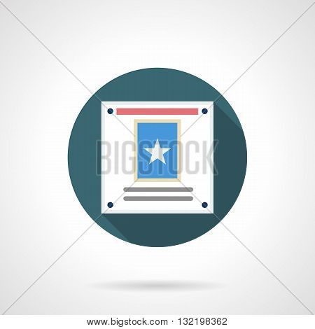Promotional or information poster with star print on blue. Marketing and advertisement, advertising actions and promotions. Round flat color design vector icon with long shadow.