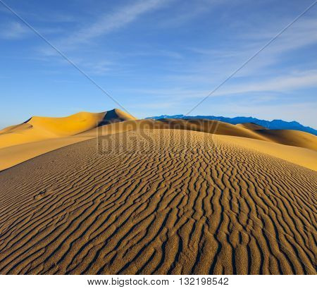Early morning, sunrise in Death Valley, California. Magnificent sandy waves on dunes