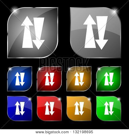 Two Way Traffic, Icon Sign. Set Of Ten Colorful Buttons With Glare. Vector