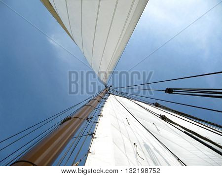 Sailboat mast with a nice blue sky
