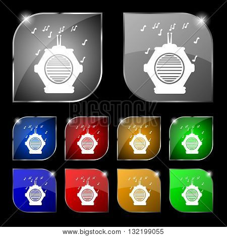 Old Analog Radio Icon Sign. Set Of Ten Colorful Buttons With Glare. Vector