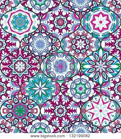 Vector ethnic colorful bohemian pattern in bright colors with big abstract flowers. Geometric background with Arabic, Indian, Moroccan, Aztec motifs. Ornate print with mandalas within clipping mask