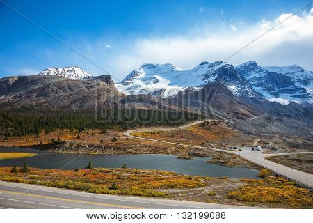 Beautiful nature of the Rocky Mountains of Canada. Icefields Parkway Road and giant glaciers in the mountains