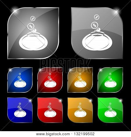 Retro Purse Icon Sign. Set Of Ten Colorful Buttons With Glare. Vector