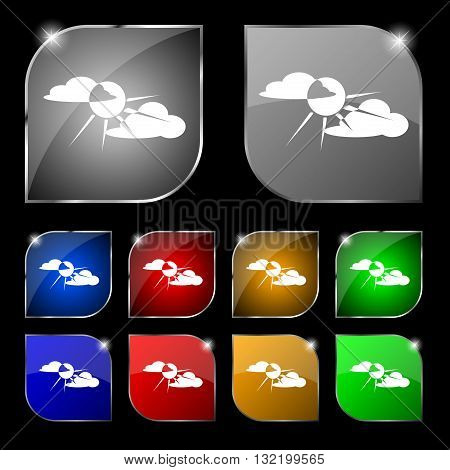 Sun Behind Cloud Icon Sign. Set Of Ten Colorful Buttons With Glare. Vector