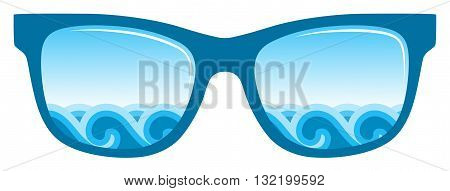 vector waves in sunglasses isolated on white background