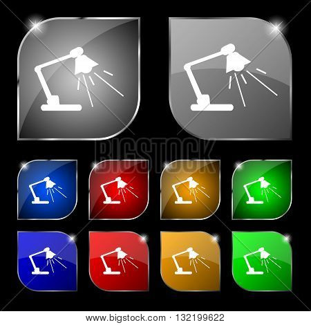 Reading-lamp Icon Sign. Set Of Ten Colorful Buttons With Glare. Vector