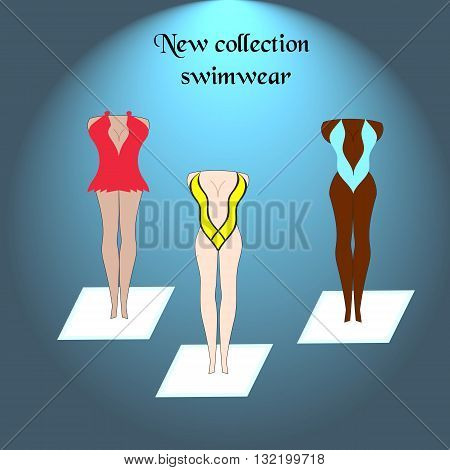 Swim suits cloth fashion looks. Swim suits women collection, swimwear sea light sexy clothes.