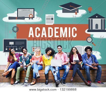 Collage Academic Education Institution Concept