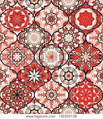 Vector ethnic colorful bohemian pattern in gray red colors with big abstract flowers. Geometric background with Arabic, Indian, Moroccan, Aztec motifs. Ornate print with mandalas within clipping mask