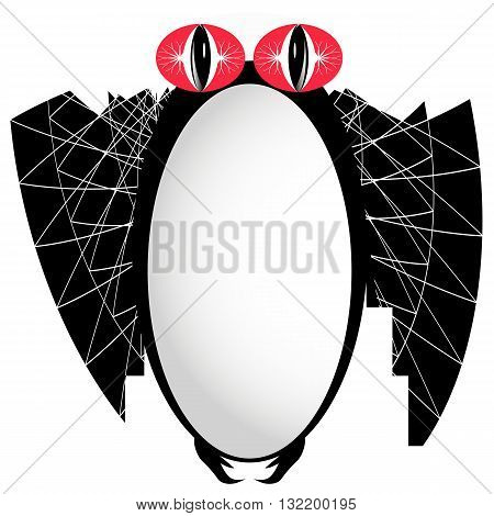 Funny bat with red eyes. vector image closeup on a white background