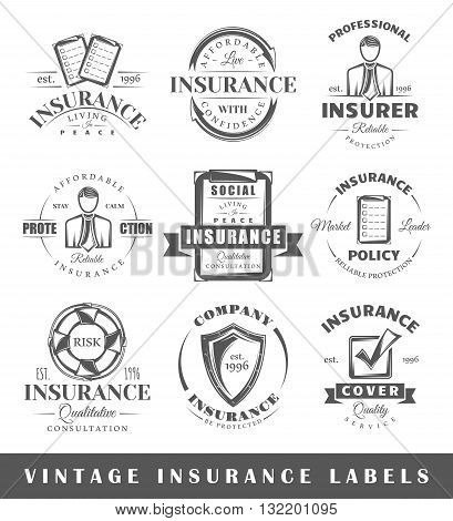 Set Of Vintage Insurance Labels