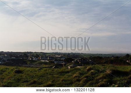 View Over Bude In Cornwall From The Costal Path