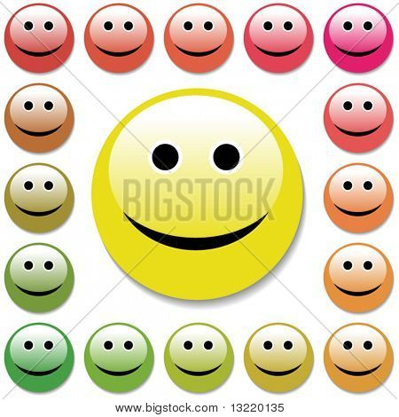 Smiley face happy. Vector set.