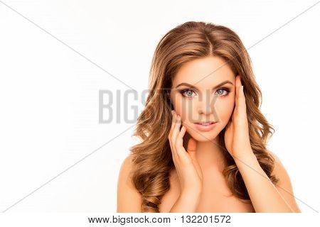 Beautiful Young Sensitive Woman With Healthy Hair On White Background