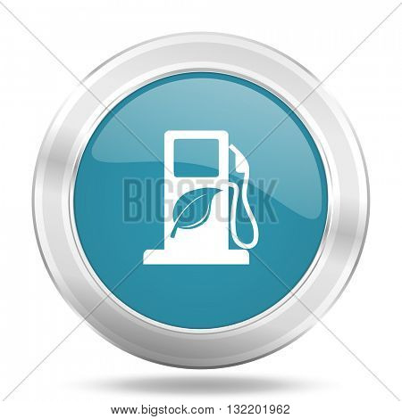 biofuel icon, blue round metallic glossy button, web and mobile app design illustration