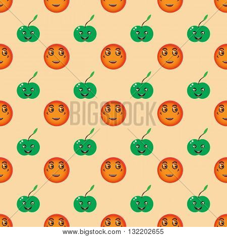 Cute orange and crazy green apple, fun fruit background